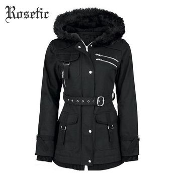 Women Black Casual Winter Asymmetric Hooded Trench Slim Outerwear Punk Street wear Retro Goth Coats