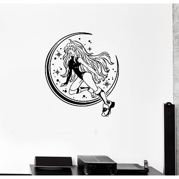 Wall Decal Sexy Girl Fantasy Moon Stars Beautiful Vinyl Sticker (ed1342)