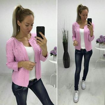 Pink Pearl Long Sleeve Casual Acrylic Cardigan Sweater