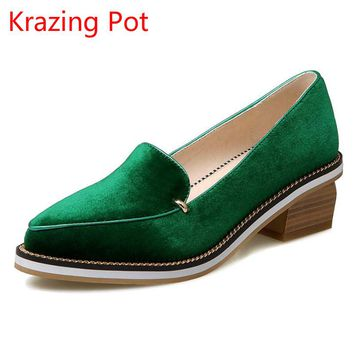 2017 Hot Sale Fashion Large Size Thick Heel Shallow Pumps Pointed Toe Slip on Women Brand Shoe Velvet Pearl Nude Sexy Loafer L67