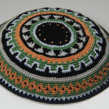 Geometric Green Orange B&W crochet Kippah Hand by ShoshiStudio
