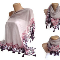 triangle tassel scarf , purple women scarf ,accessories for her , headwrap , headband , spring summer trends , mothers day