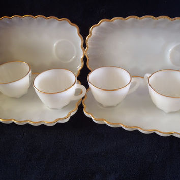 Vintage Snack Set in Milk Glass with Cups , Set of 4 Snack Set Plates and Cups with Gold Line