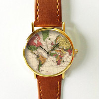 Map Watch, Leather Watch, Women Watches, Boyfriend Watch, World Map, Men's Watch, Vintage Style, Unisex