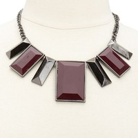 Rectangle Stone Bib Necklace: Charlotte Russe