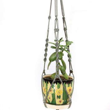Holiday's Decor Idea - Outdoor - Basket - Garden Pot Holder - Gray Macrame  Plant  Hanger - 28 inches - Hanging Planter - 3mm Cord