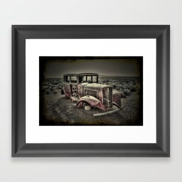 Car In The Desert Vintage Look Framed Art Print by Claude Gariepy