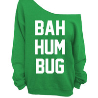 Ugly Christmas Sweater - Bah Hum Bug - Green Slouchy Oversized CREW