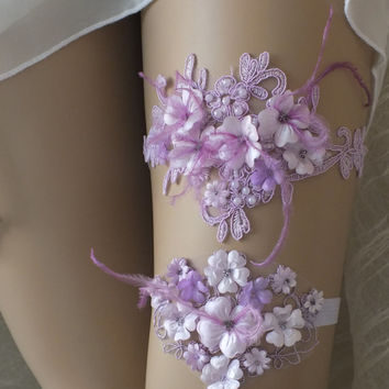 Unique lilac wedding garter set  lace  garter , Wedding Garter,  garters, bridal lace Garter, Free Ship