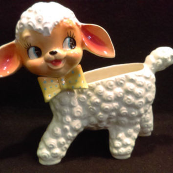 Lamb Planter, Vase,  Napco Japan, Nursery Room, Baby Shower Gift  (1224)