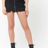Distressed Zip-Front Denim Mini Skirt