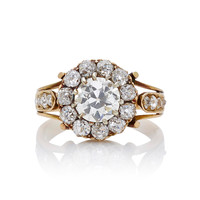 18K Yellow Gold Victorian Old European Cut Diamond Cluster Ring | Moda Operandi