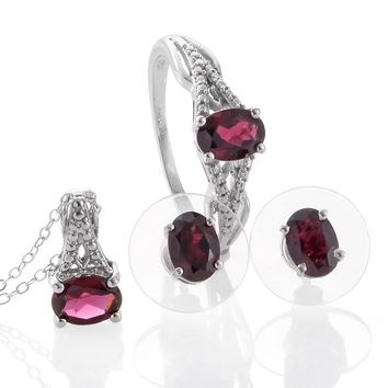 Orissa Rhodolite Garnet Matching Earrings and Necklace