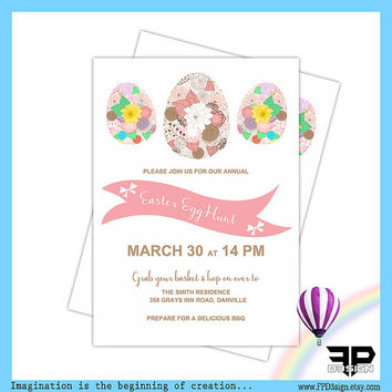 Easter Egg Hunt Invitation | Easter Brunch Invitation JPG, PDF | Floral Egg Hunt Invitation | Floral Easter Invitation | Digital Download