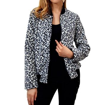 LASPERAL Casual Baseball Long Sleeve Jacket Coat Tops Sweatshirt Bomber Coat Women's Contrast Leopard Print Jacket Zip Plus Size