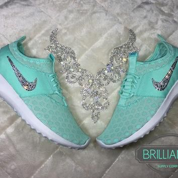 Swarovski Nike Shoes Bling Nike Juvenate Shoes Artisan Teal/White/Light Retro Customiz