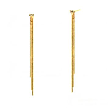 Three Strand Long Linear Drip Earrings with CZ Accent