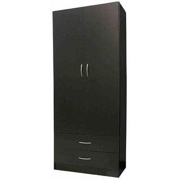 Contemporary Black Wood 2 -Door Wardrobe Armoire