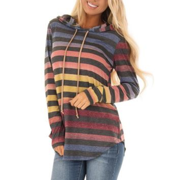 Women'S Long Sleeve Printed Hooded Sweater