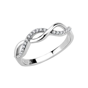 Infinitely Together - Women's Stainless Steel And Clear CZ Repeated Infinity Sign Ring