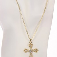 Gold Rhinestone Cross Pendent Necklace