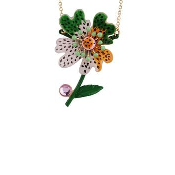 N2 by Les Néréides ENERGETIC BOTANY PINK, ORANGE AND GREEN FLOWER NECKLACE