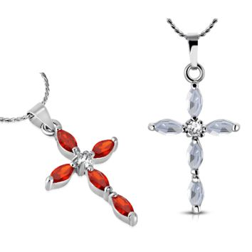ON SALE - Faith Small Cubic Zirconia Cross Pendant Necklace