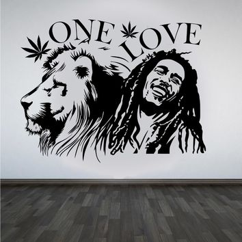 "wall stickers Bob Marley Lion Zion ""ONE LOVE"" Marijuana Quote Wall Art Sticker/Decal/Mural Removable Vinyl Waterproof Mural"