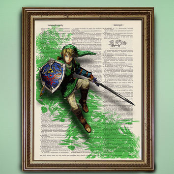 Link, Hero of Hyrule -- Legend of Zelda Video Game Dictionary Print - Buy 2 Get 1 Free! - Antique Book Page Cute Kawaii Decor Unique Vintage