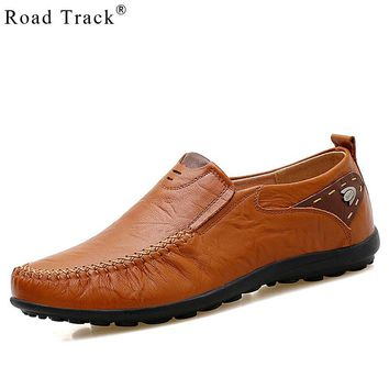 Road Track Men Loafers Flats Slip On Suede Leather Solid Flat Heel Men Flats New Round Toe Men Shoes
