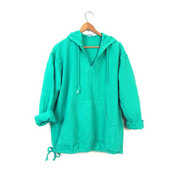 Slouchy BAJA Hoodie 90s Teal Green Pullover Textured Cotton Kangaroo Drug Rug Hooded Pullover Boho Spring Jacket Vintage 90s Minimal Medium