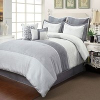 Ciena Comforter Set in Silver/Grey