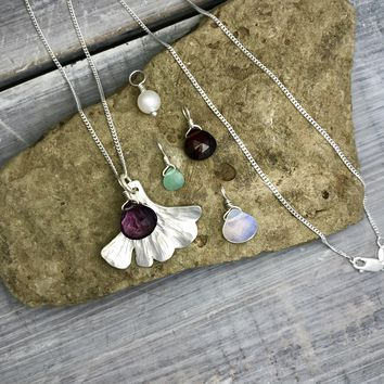 Sterling Silver Ginkgo Leaf Charm Necklace with Choice of Stone