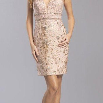 Rose Gold Homecoming Short Dress Embroidered