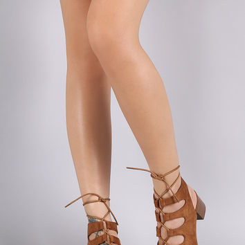 Suede Open Toe Lace-Up Block Mule Heel