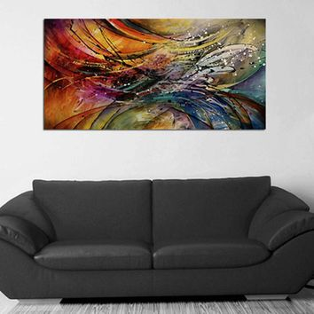 Large Colorful Beautiful Lines Cuadros Painting Handpainted Abstract Oil Paintings on Canvas Modern Home Decor Wall Art Pictures
