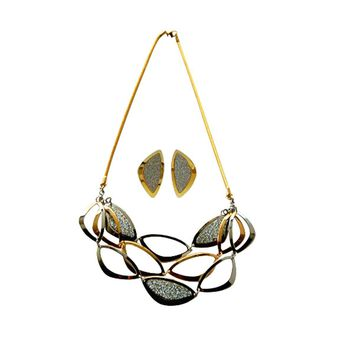 """Necklace Stainless Steel Multi-tone  Ovals 20"""" with Matching Earrings"""