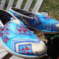 south western-tribal-hand painted on TOMS shoes-made to order