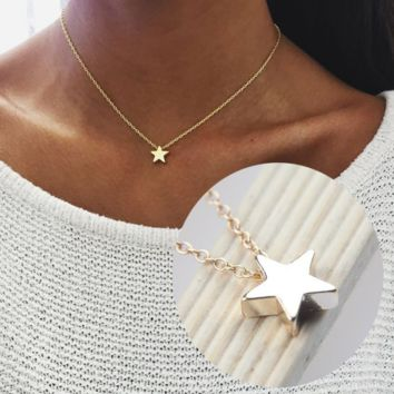 Star-shaped Charm Pendant Necklace Women Simple Necklace Lover's Gift