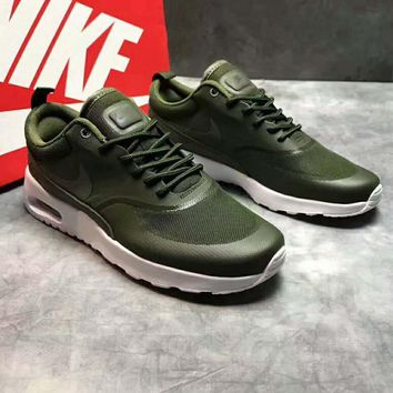 Nike Air Max Thea Running shoes Army green -white soles H-PSXY