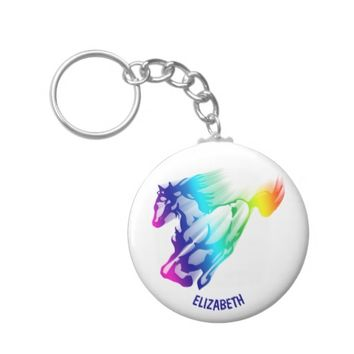 Running Rainbow Horse With Motion Trail Keychain