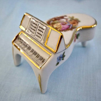 Vintage French Limoges Porcelain Piano Trinket Box