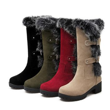 ASUMER -  Flock & Buckle Winter Mid Calf Boots*
