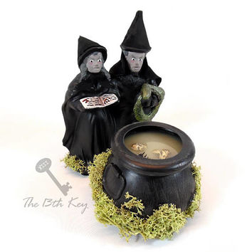 Witches and Cauldron Figurine for Halloween Village