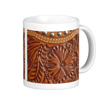 Rustic western country pattern tooled leather print mug
