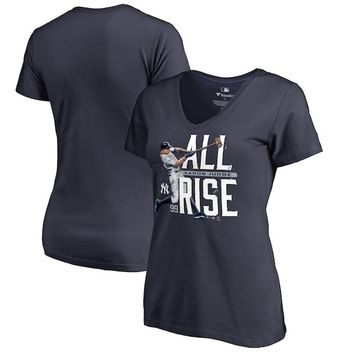 Aaron Judge New York Yankees Fanatics Branded Women's Hometown Collection All Day V-Neck T-Shirt - Navy