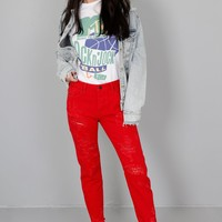 Distressed Red Jeans