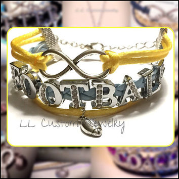 Infinity/Love Custom Rhinestone FOOTBALL Bracelet- Multi-strand w/out Charm - Mom, Cheer, Football, Dance, Hockey, Sport Mom, Music, sports