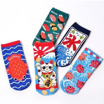 Japanese Cute Women Lucky Cat  Ankle Socks Kawaii Female Crab Salmon Gold Squid Sushi Fish Fortune Kitty Water Low Cute Sock