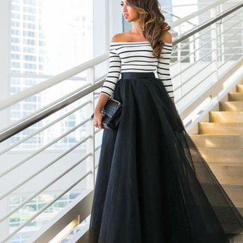 ICIK7HQ Striped Top Maxi Party Tule Skirt Set